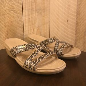 Crocs Leopard Wedge Sandals